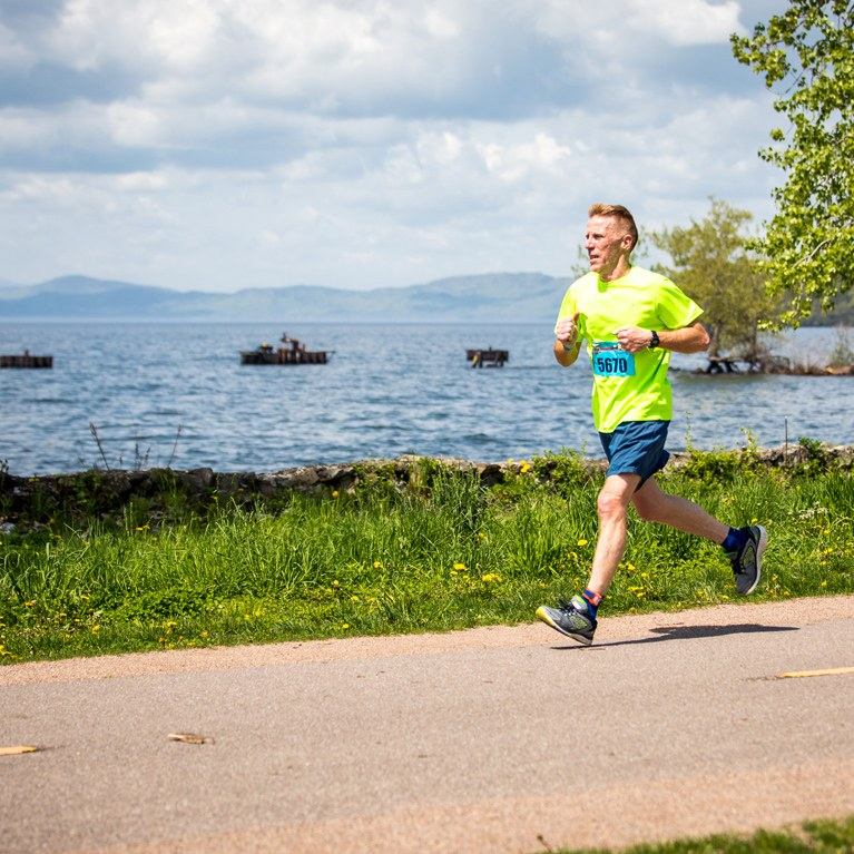 Runner along Lake Champlain