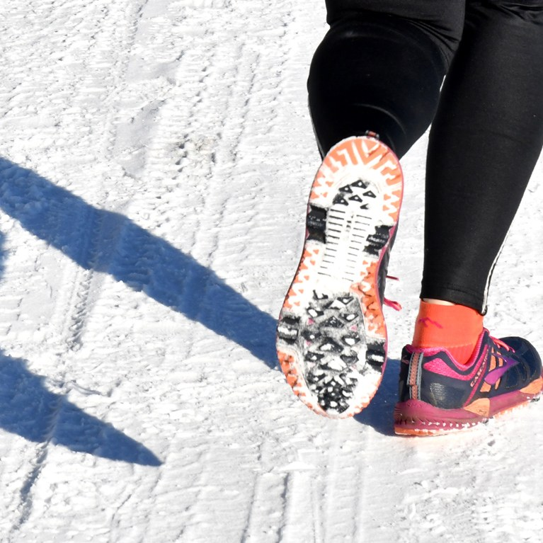 Running shoes on snow