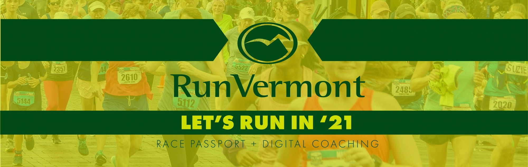 Let's Run In 2021 call out with the RunVermont logo and image of runners in the background.