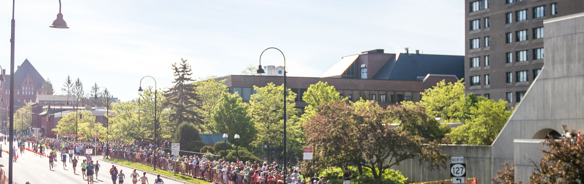 View of runners on Pearl Street