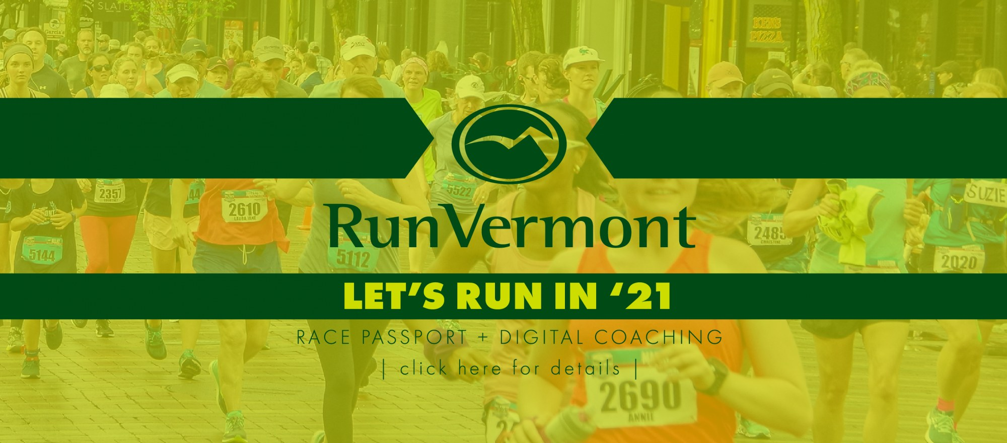 LET'S RUN IN '21 HEADER IMAGE WITH GREEN WRITING AND RUNNERS IN THE BACKGROUND