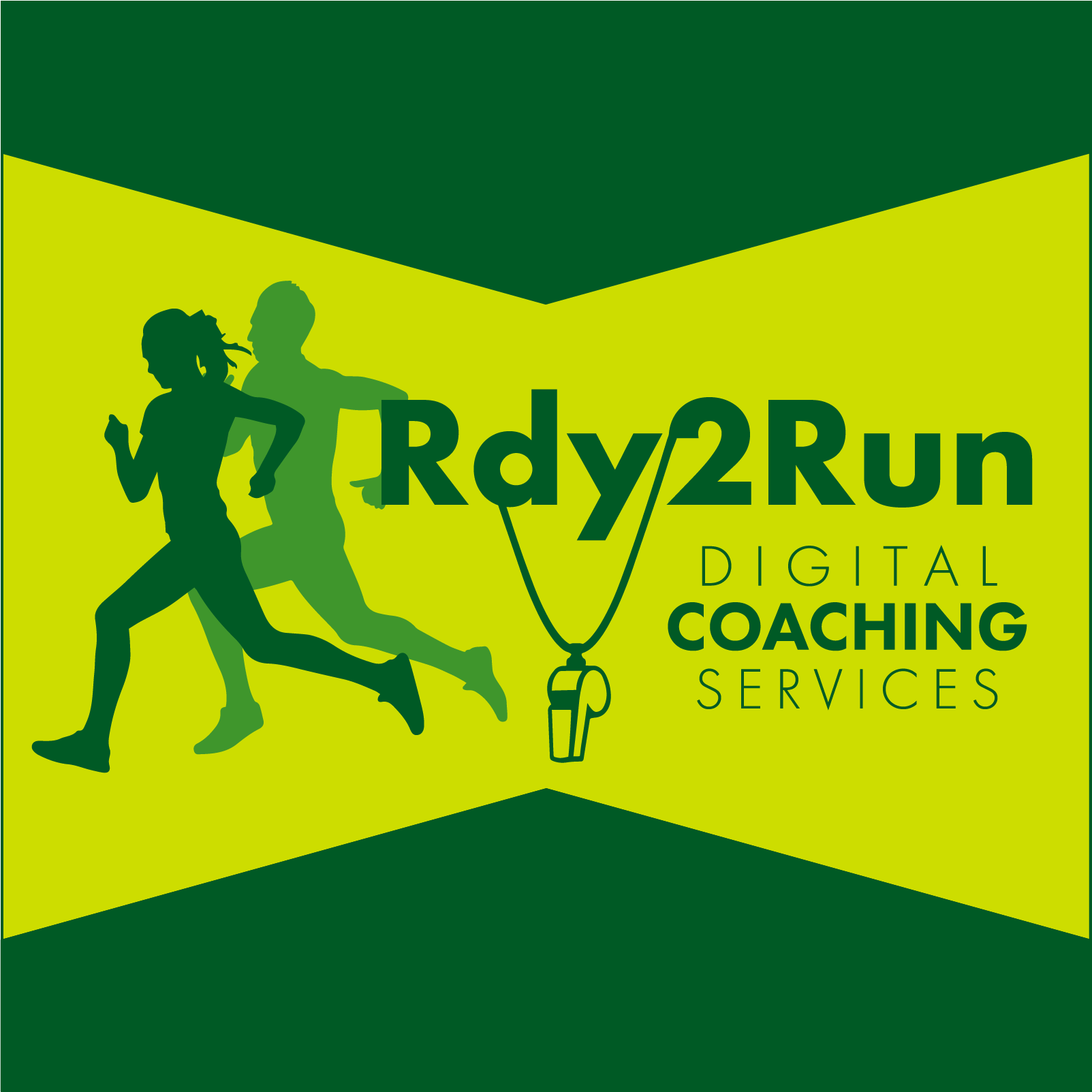 Rdy2Run logo with green writing and yellow background